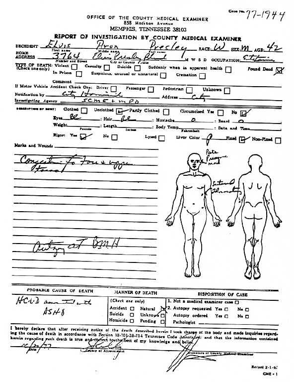 Elvis Presley Autopsy